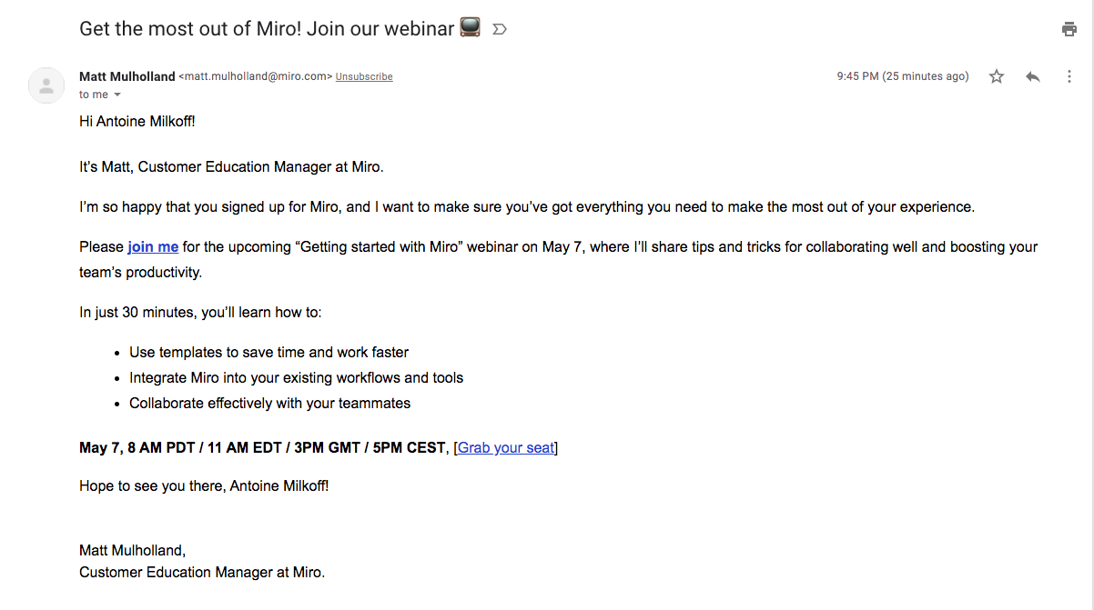 Miro Onboarding Emails