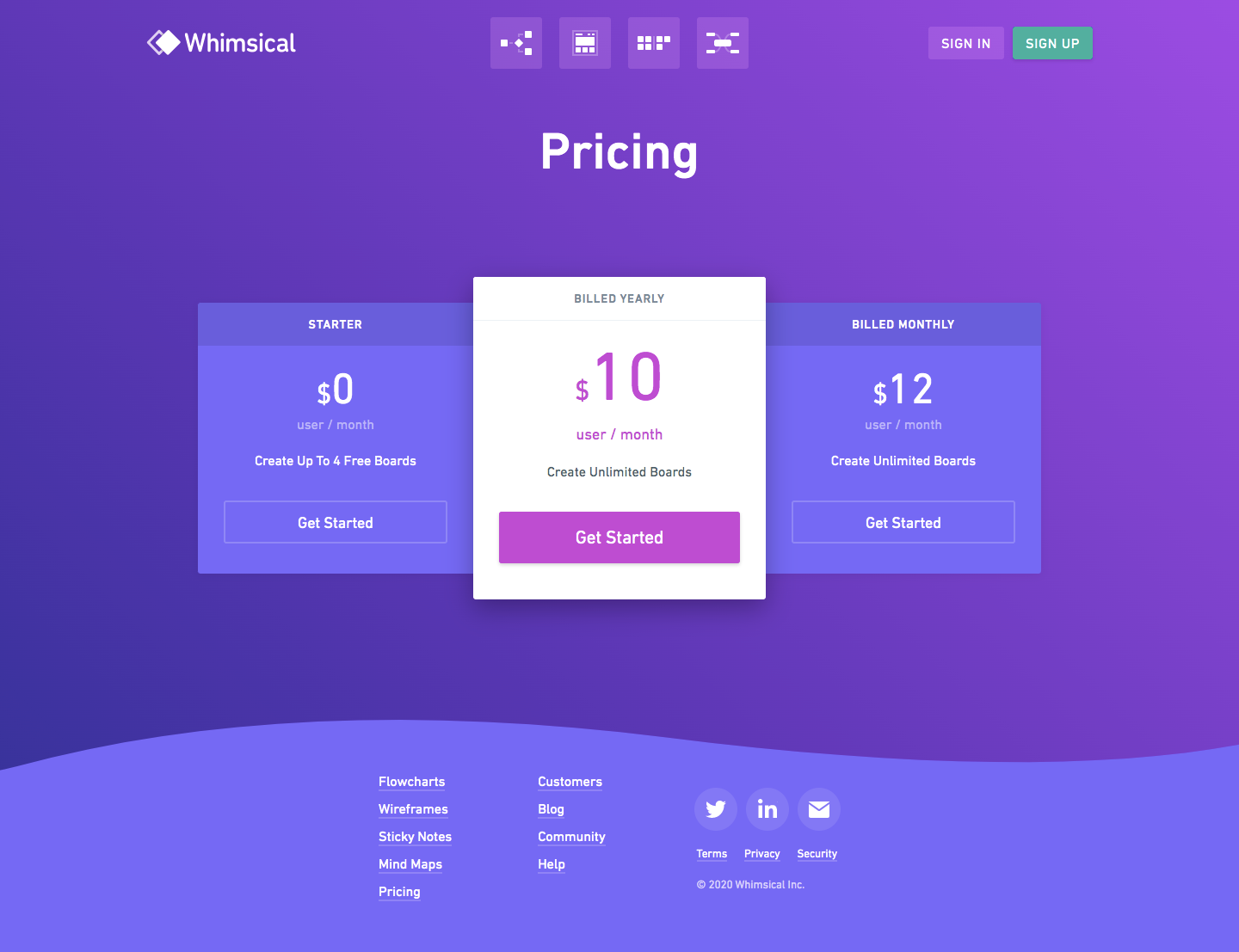 Whimsical Pricing Page