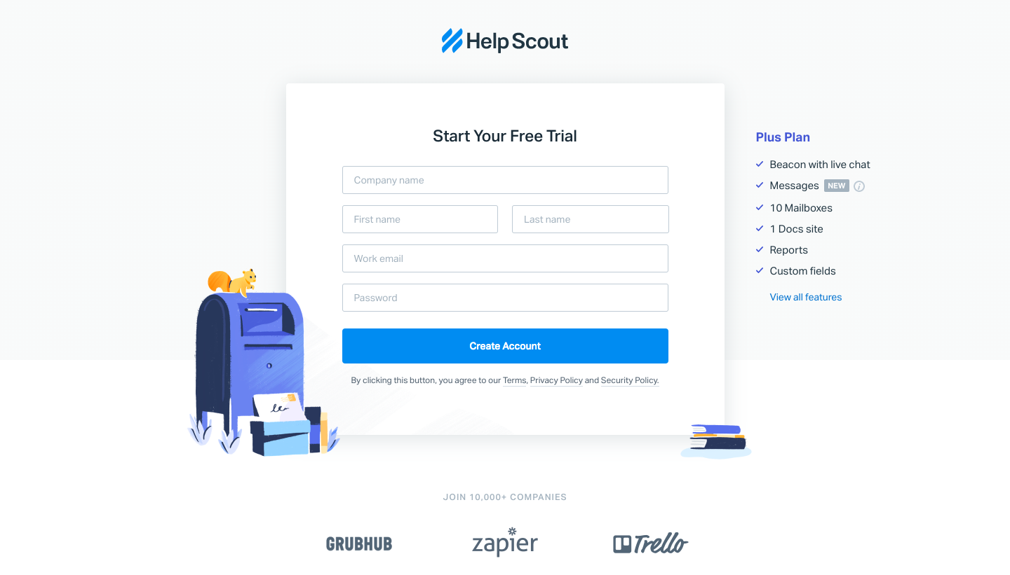 Help Scout Sign Up Flow