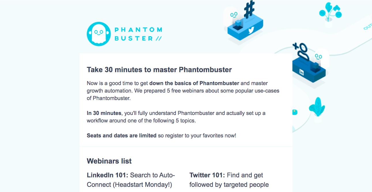 Phantombuster Webinar Emails