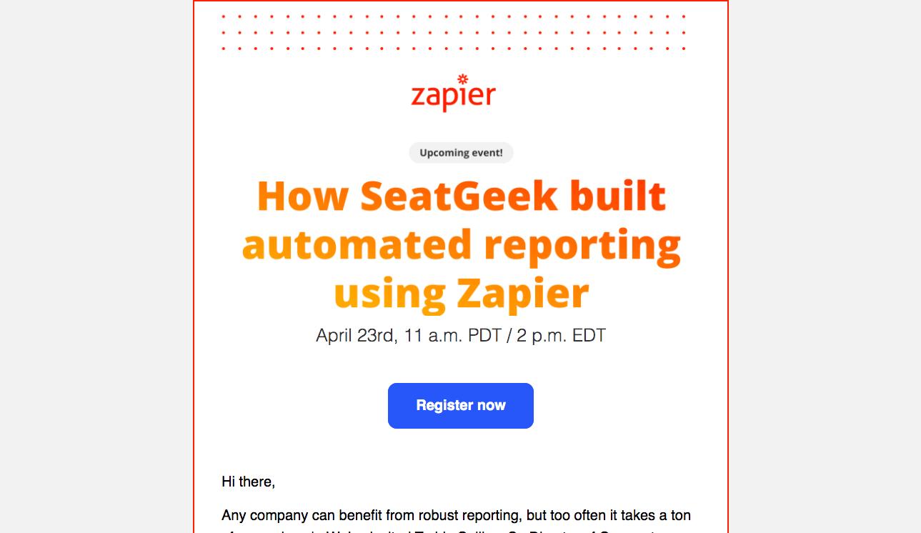 Zapier Webinars Emails
