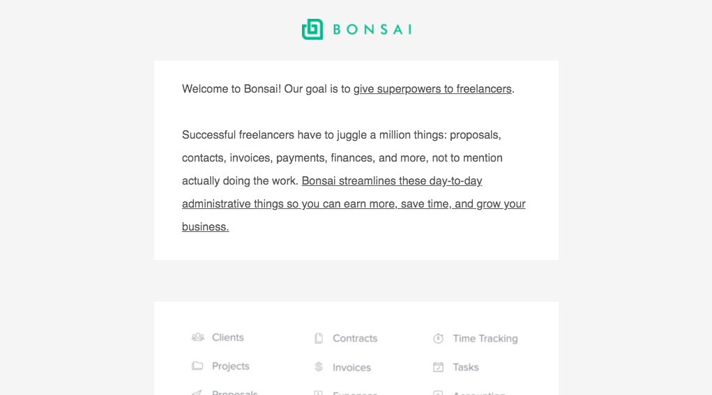 Bonsai Welcome Email