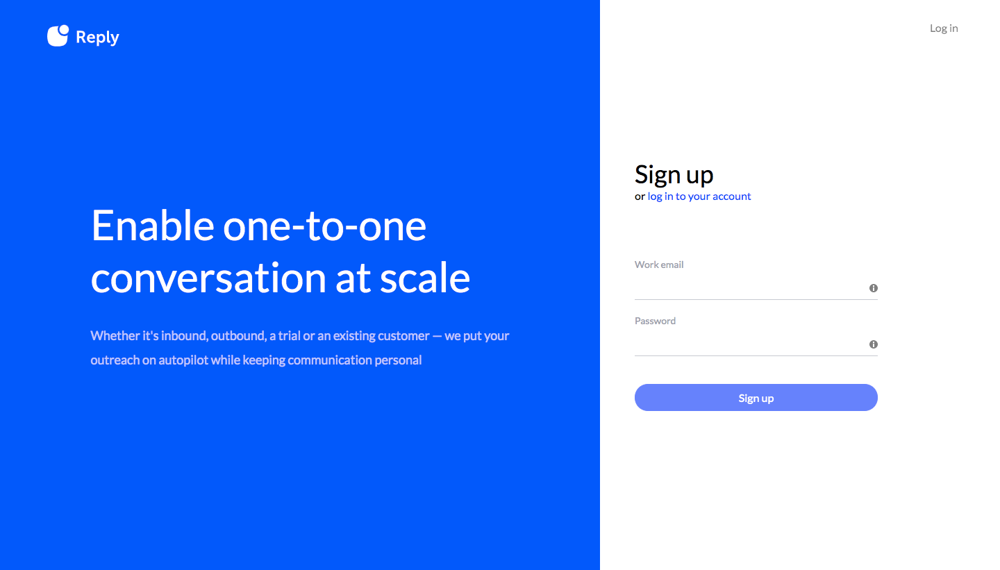 Reply Sign Up Flow
