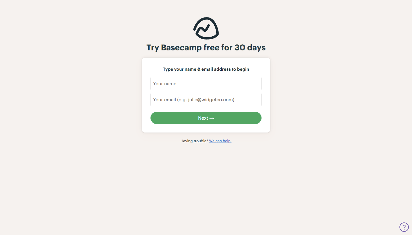 Basecamp Sign Up Flow