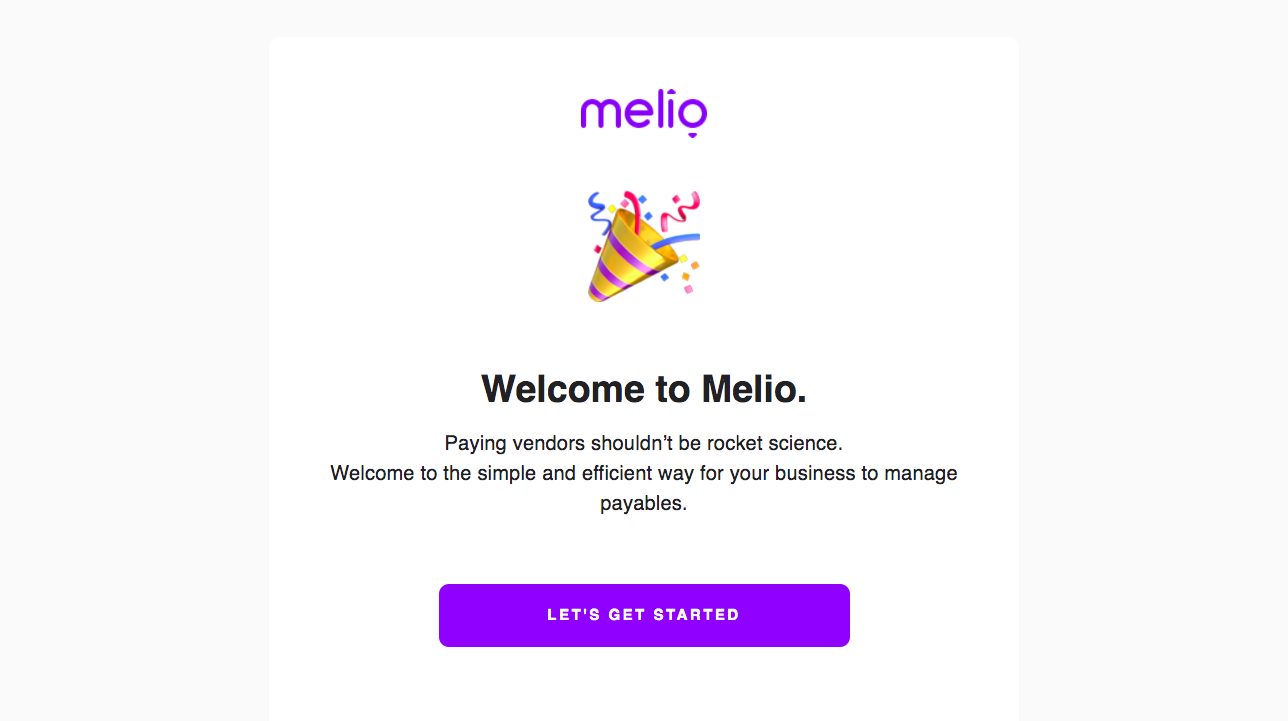 Melio Welcome Email