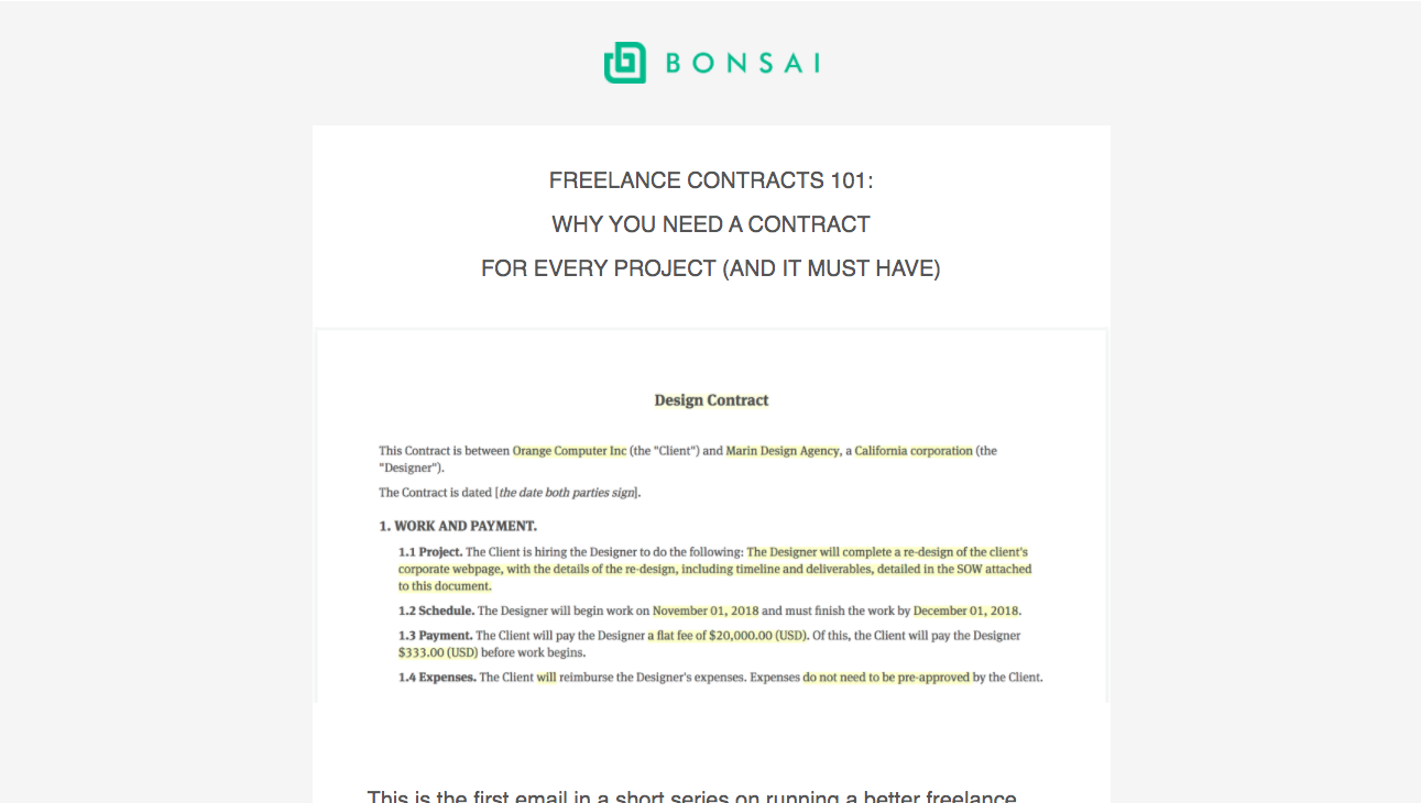 Bonsai Onboarding Emails