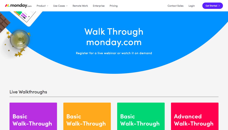 Monday Webinars Page
