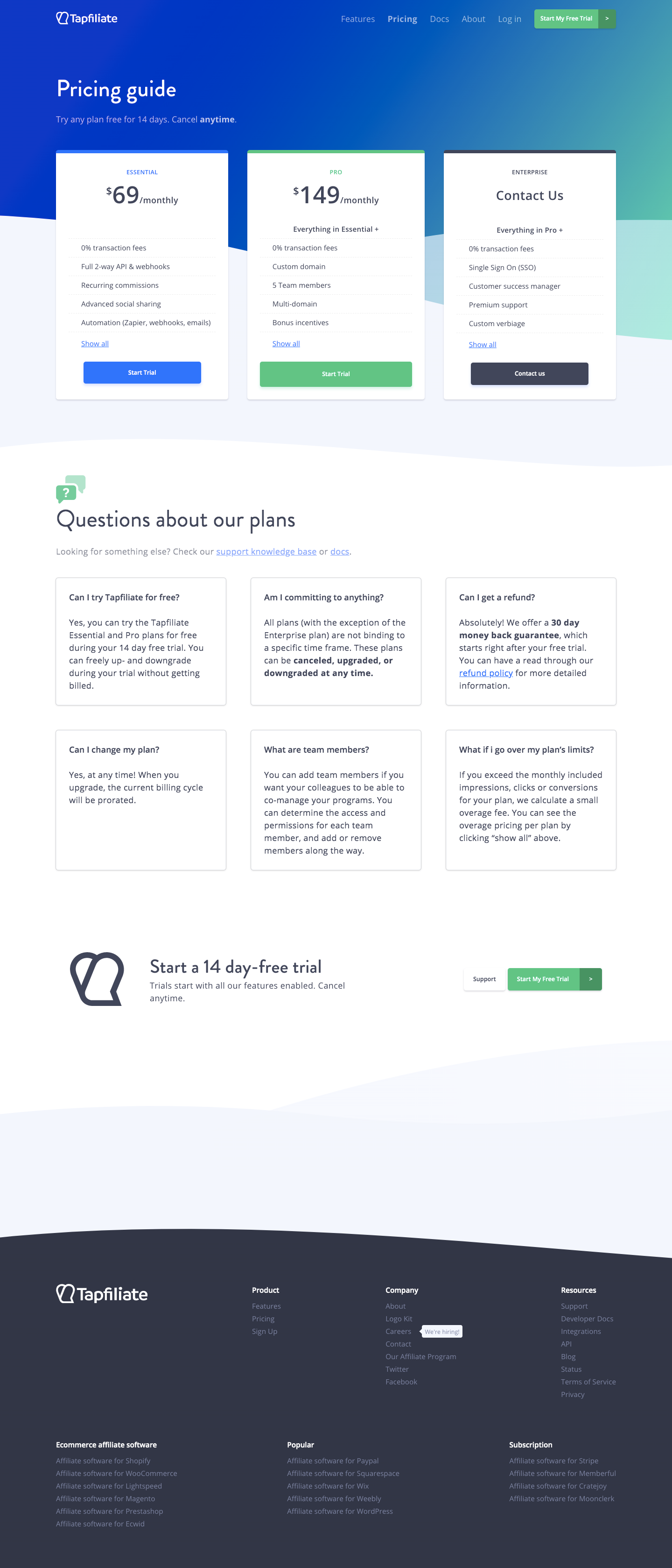 Tapfiliate Pricing Page