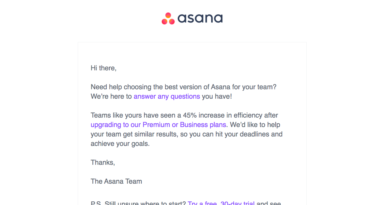 Asana Free Trial Emails