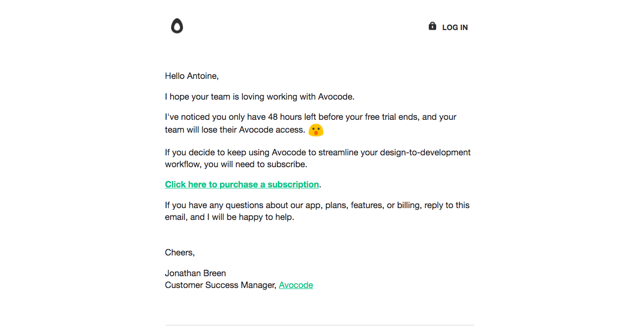 Avocode Free Trial Emails