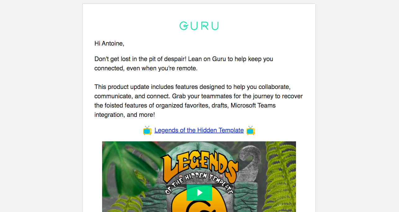 Guru Product Update Emails