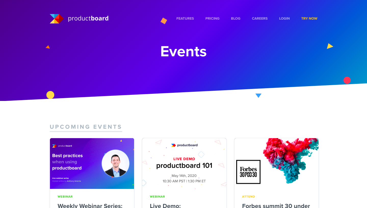 Productboard Events Page
