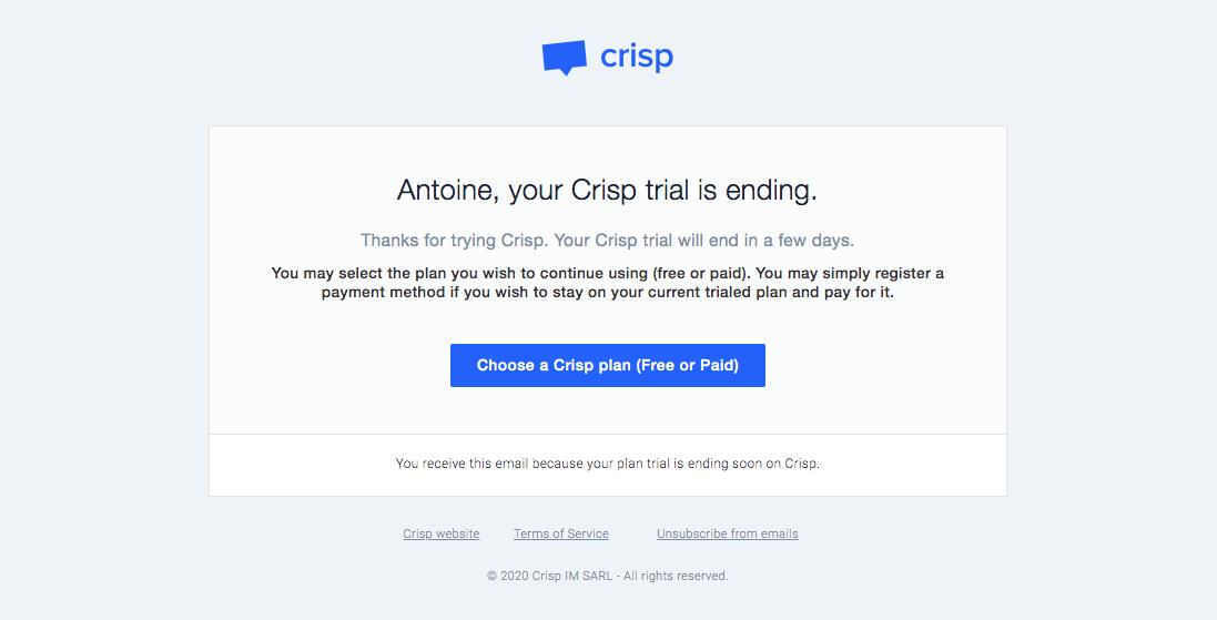 Crisp Free Trial Emails