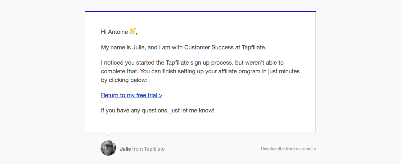 Tapfiliate Activation Emails