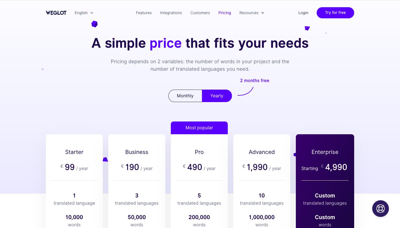 Weglot Pricing Page