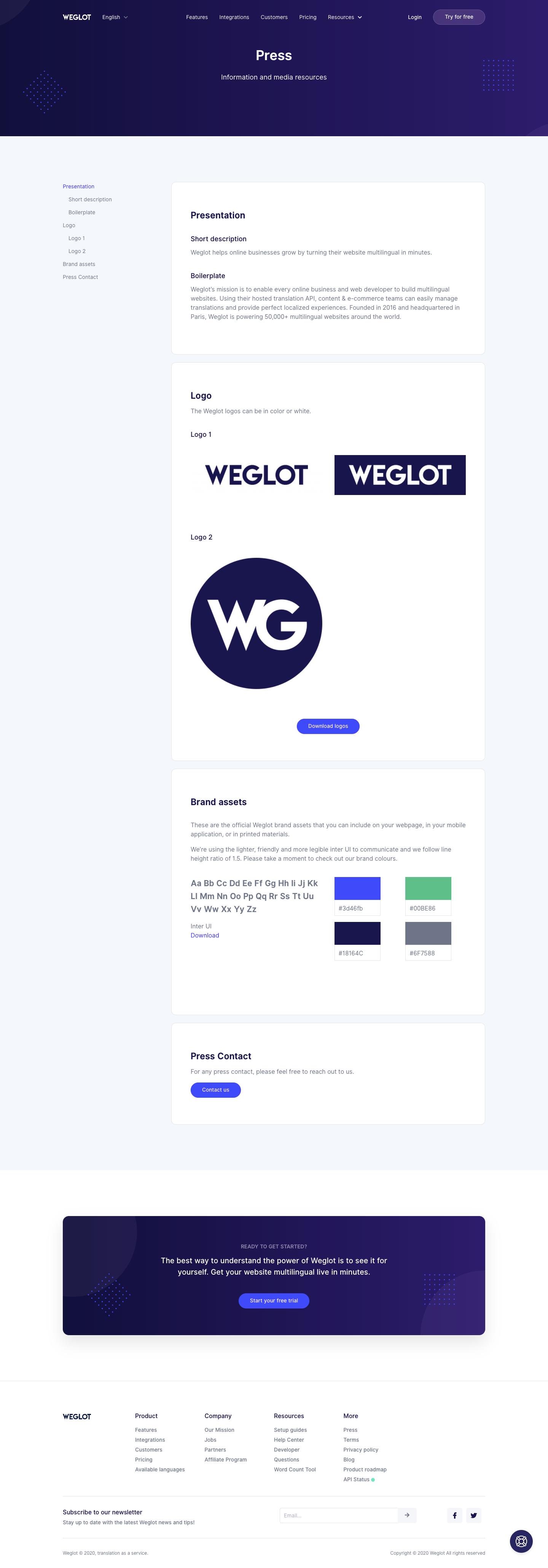 Weglot Press Page