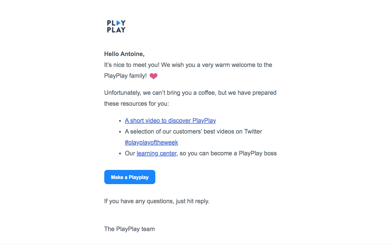 PlayPlay Welcome Email