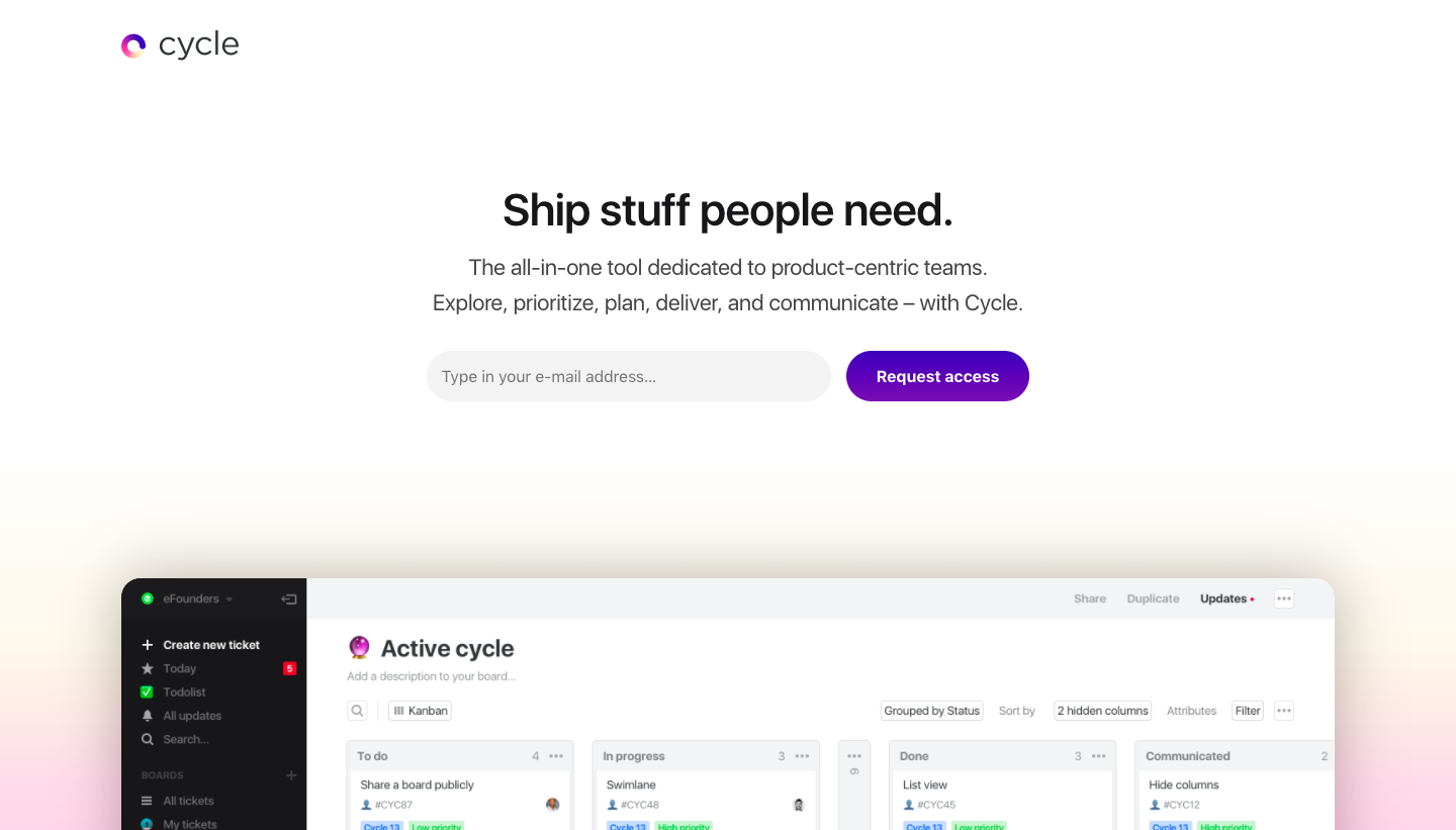 Cycle Pre-launch Page