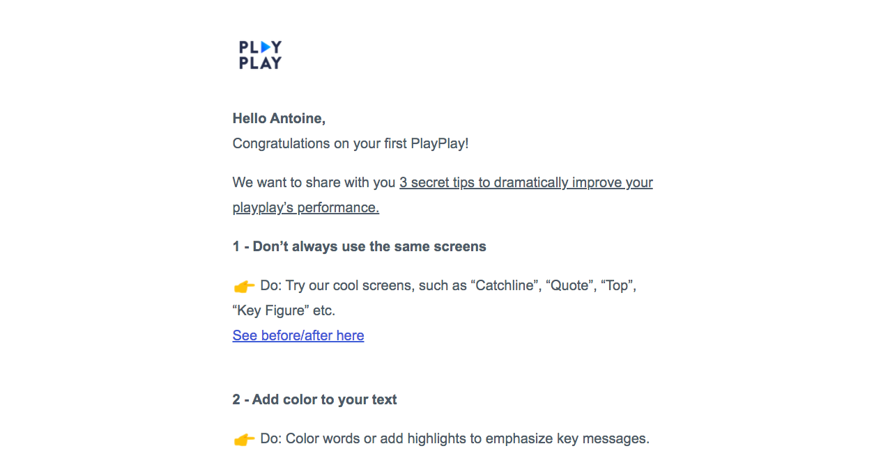 PlayPlay Onboarding Emails