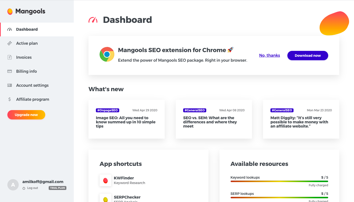 Mangools Dashboard