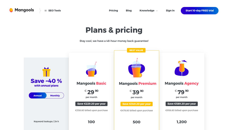 Mangools Pricing Page
