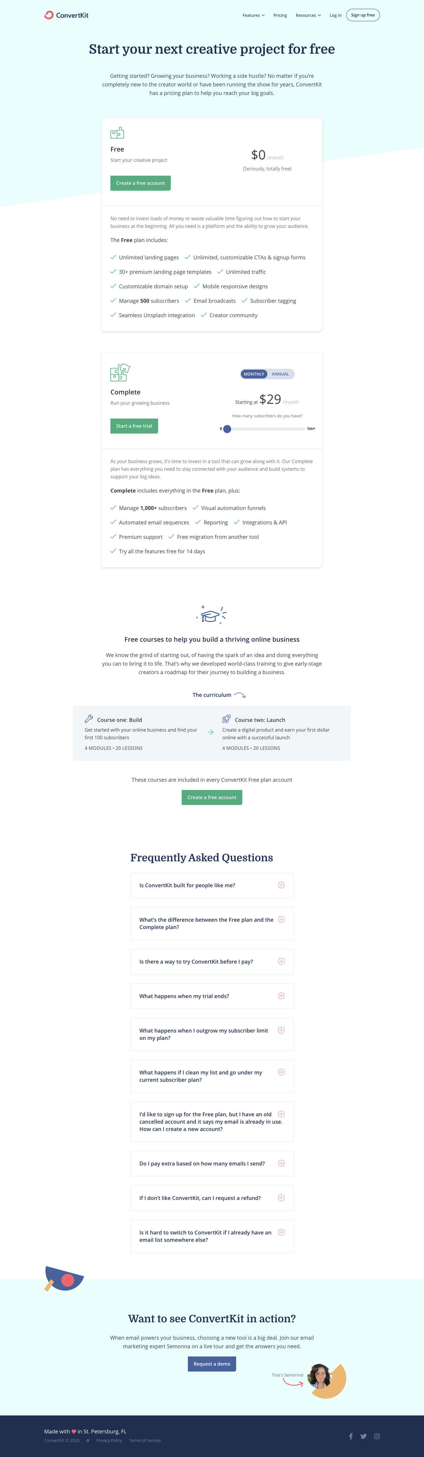 ConvertKit Pricing Page