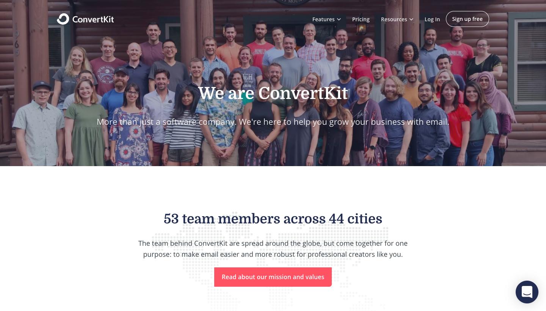 ConvertKit About Page