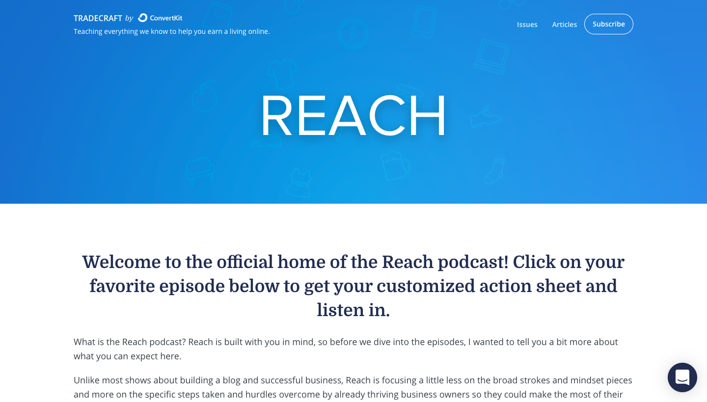 ConvertKit Reach Podcast Page