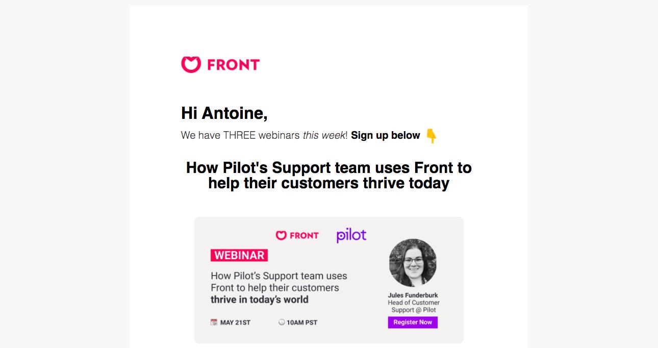 Front Webinars Emails