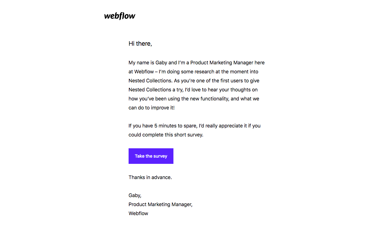 Webflow Survey Emails