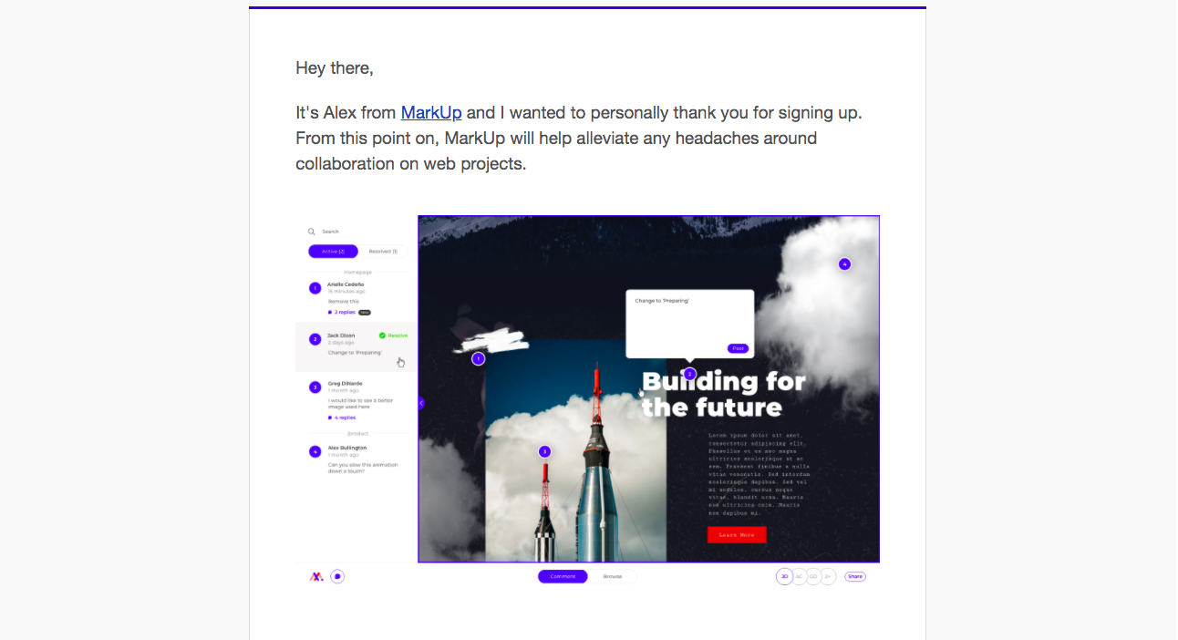 MarkUp Onboarding Emails
