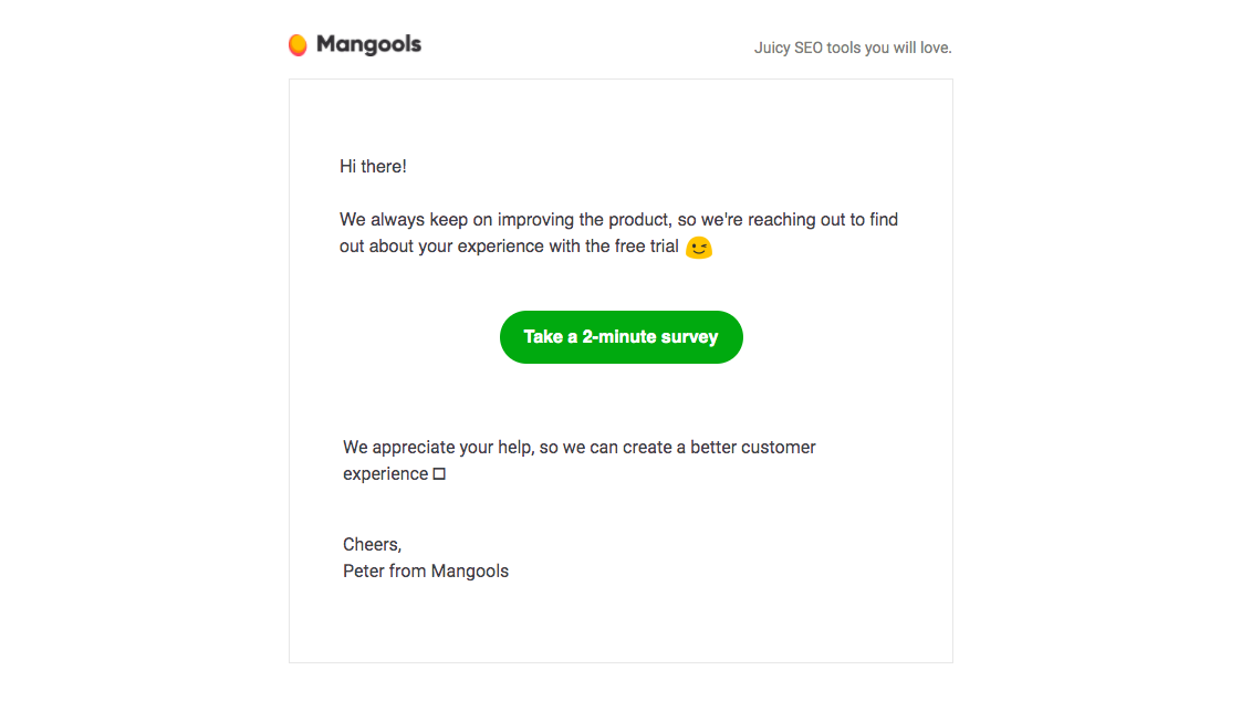 Mangools Survey Emails