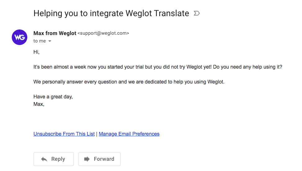 Weglot Activation Emails