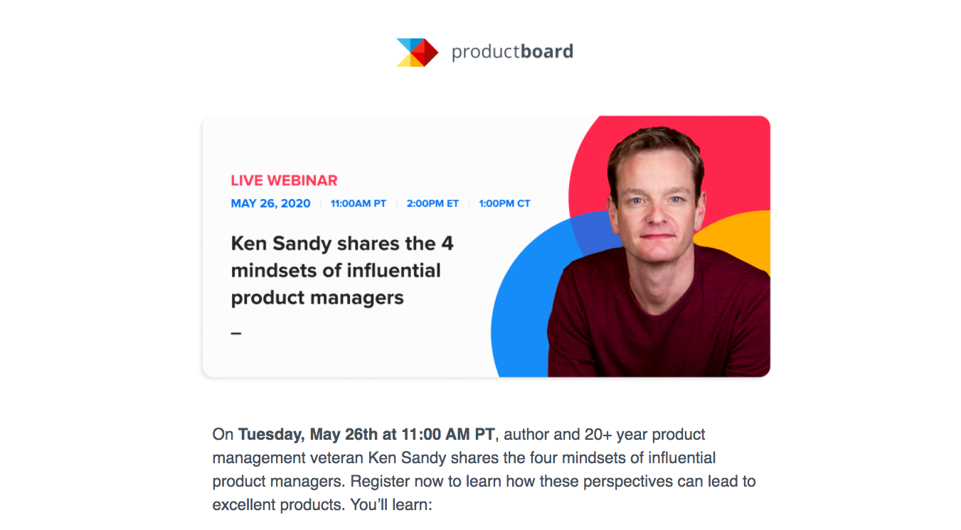 Productboard Webinar Emails
