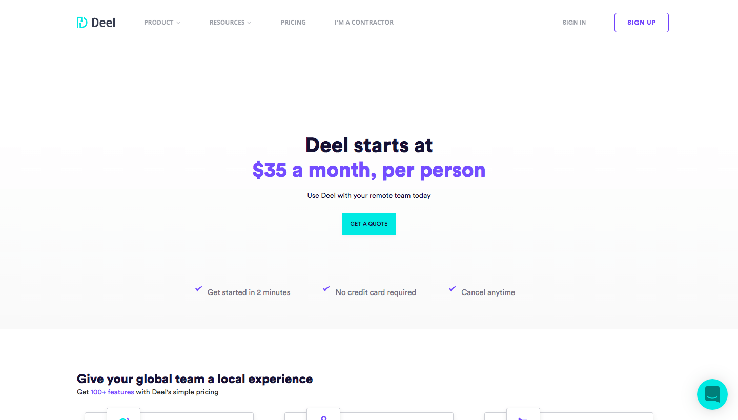 Deel Pricing Page