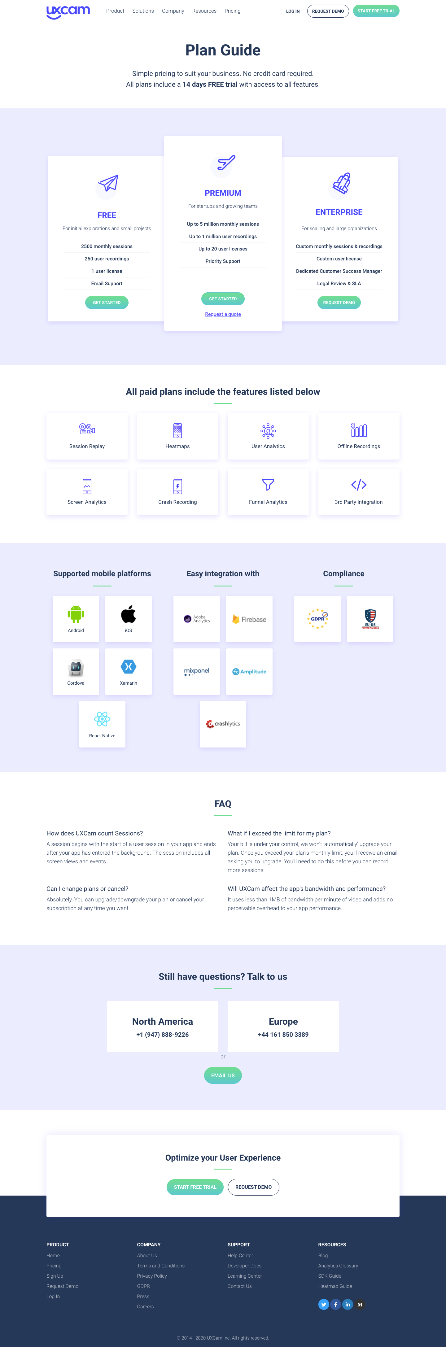 UXCam Pricing Page
