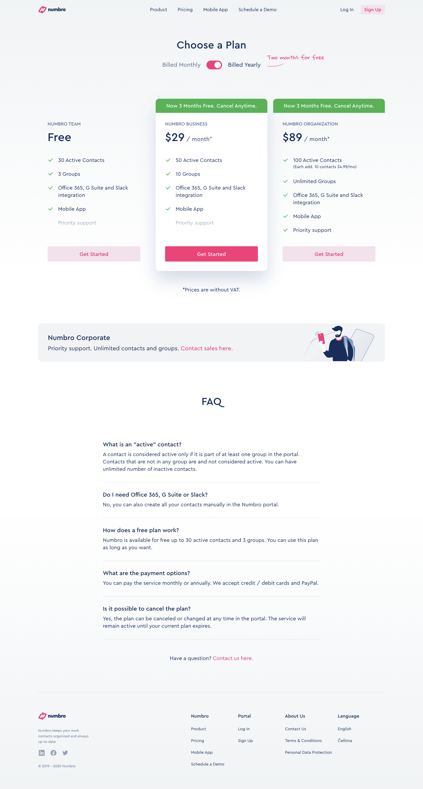 Numbro Pricing Page