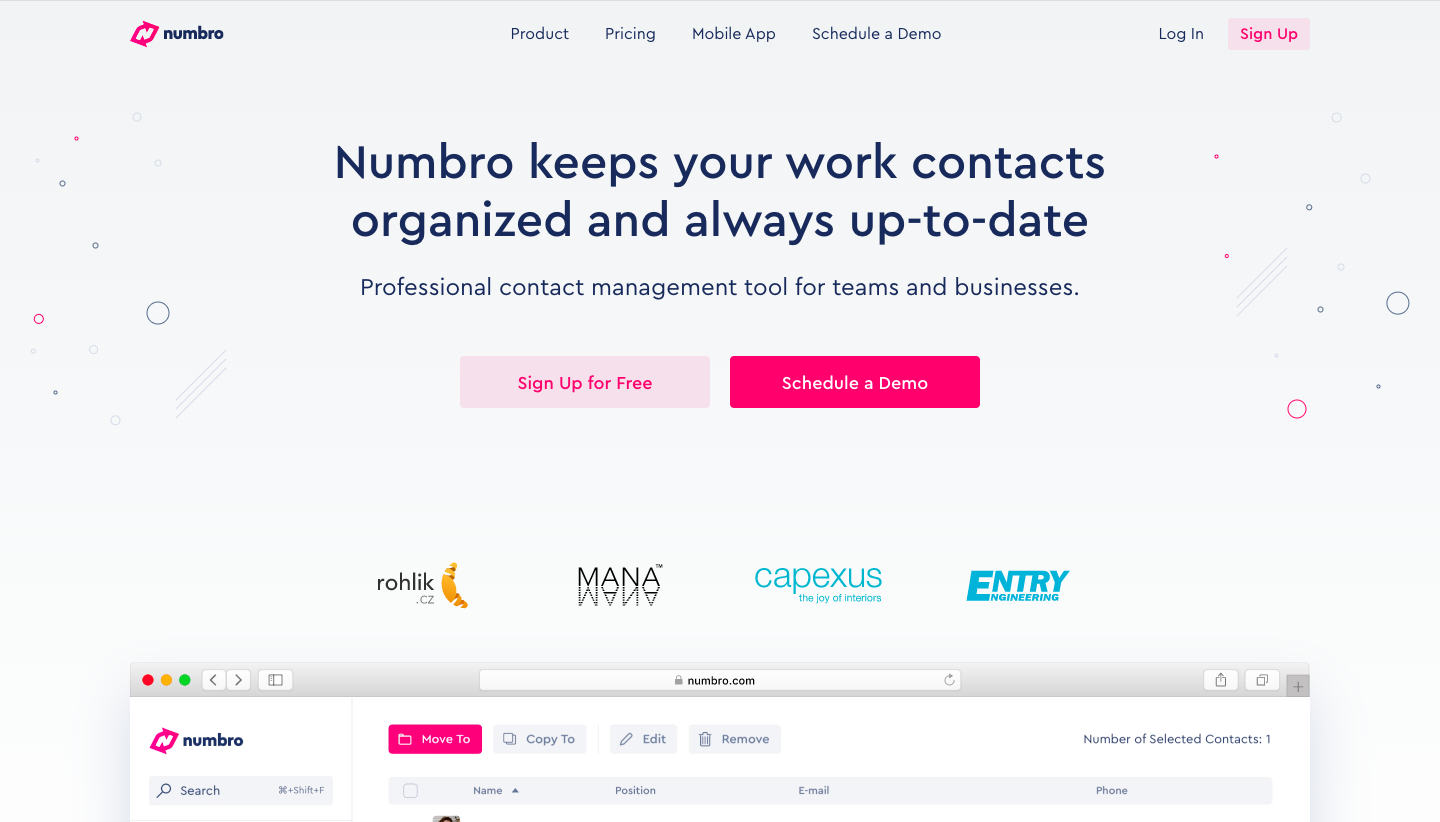 Numbro Landing Page