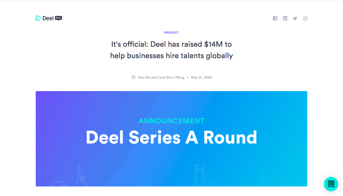 Deel Funding Announcement