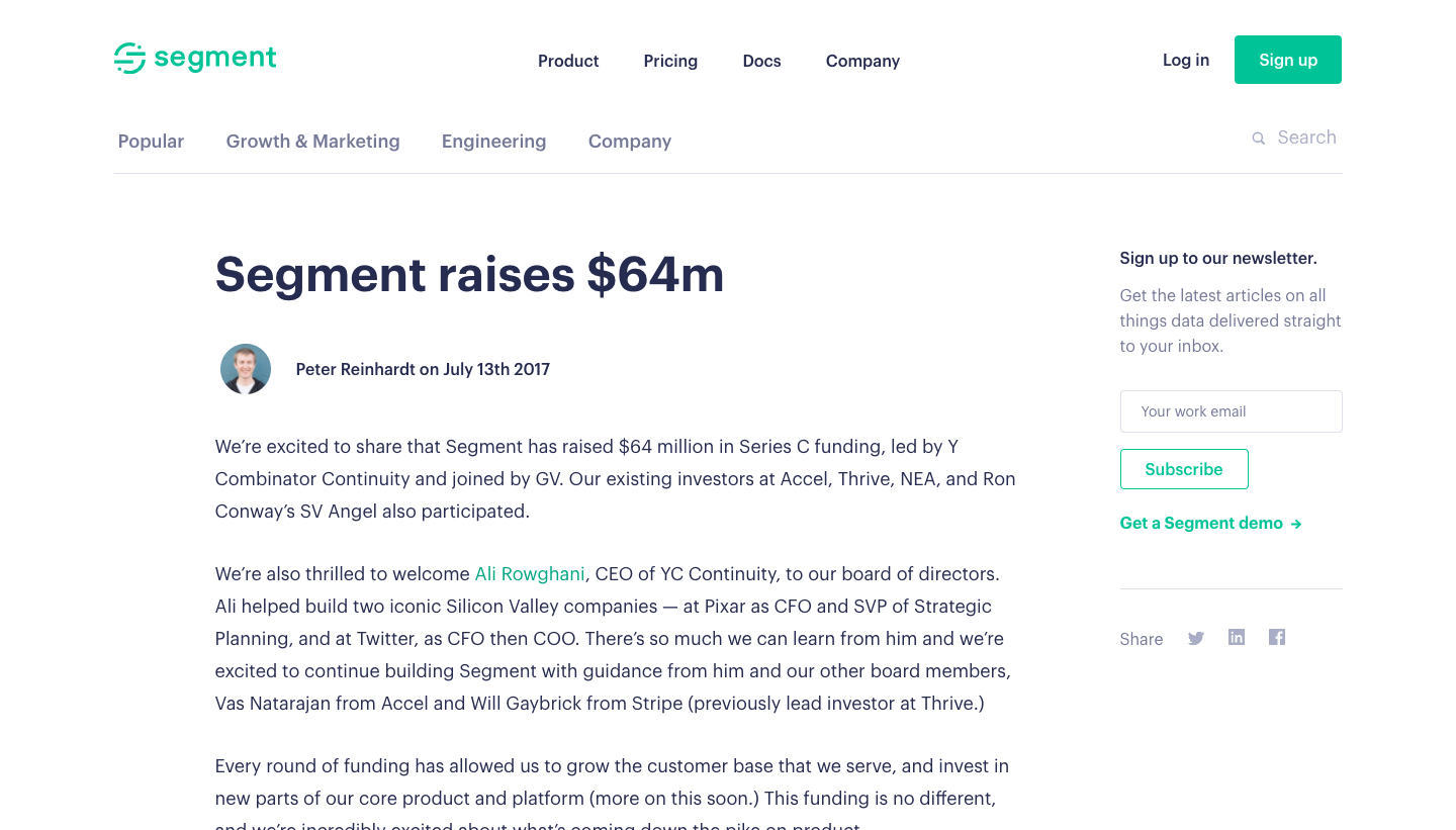 Segment Funding Announcement