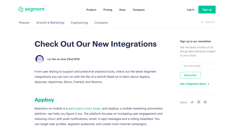 Segment New Integrations