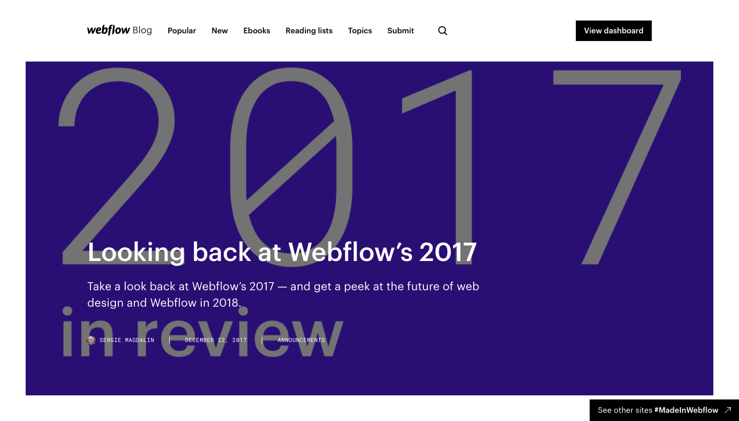 Webflow Year in Review