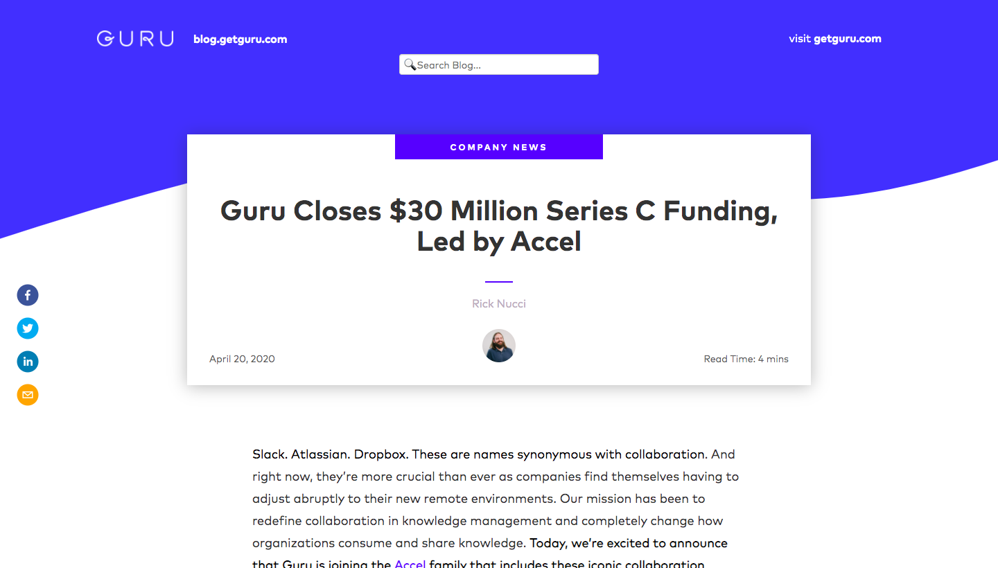 Guru Funding Announcement