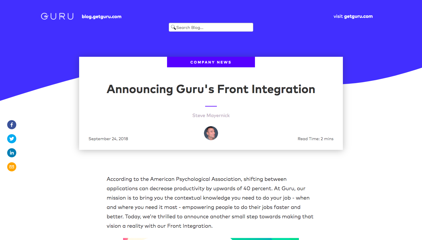 Guru New Integration