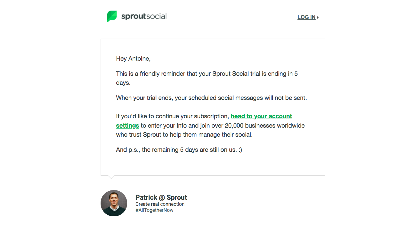 Sprout Social Free Trial Emails