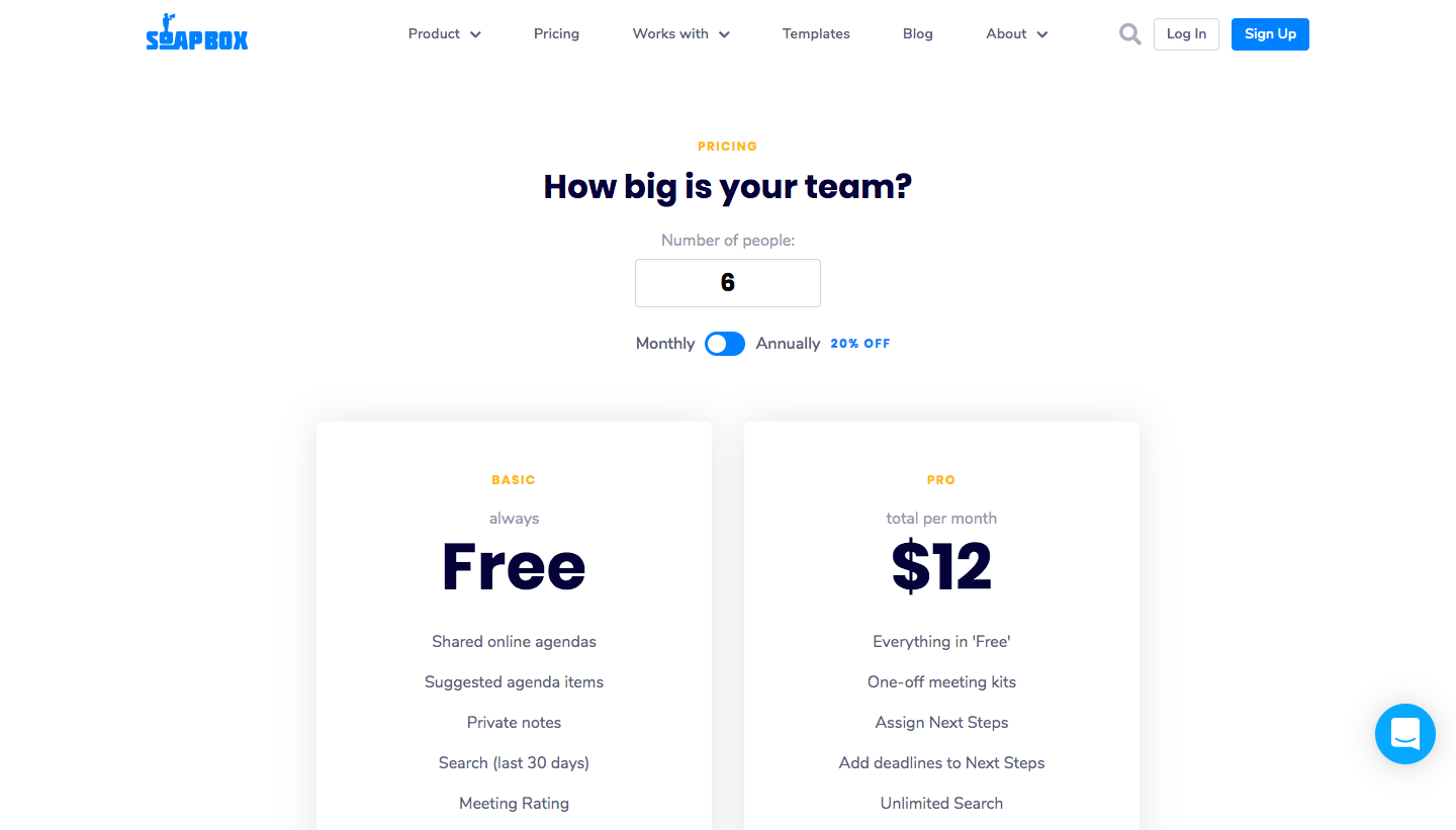 Soapbox Pricing Page