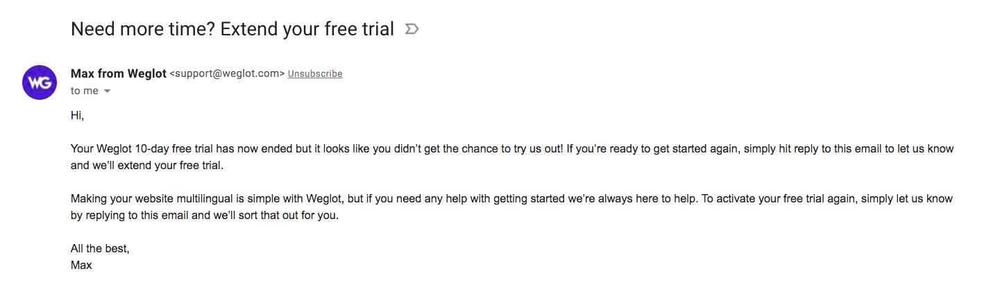 Weglot Free Trial Emails