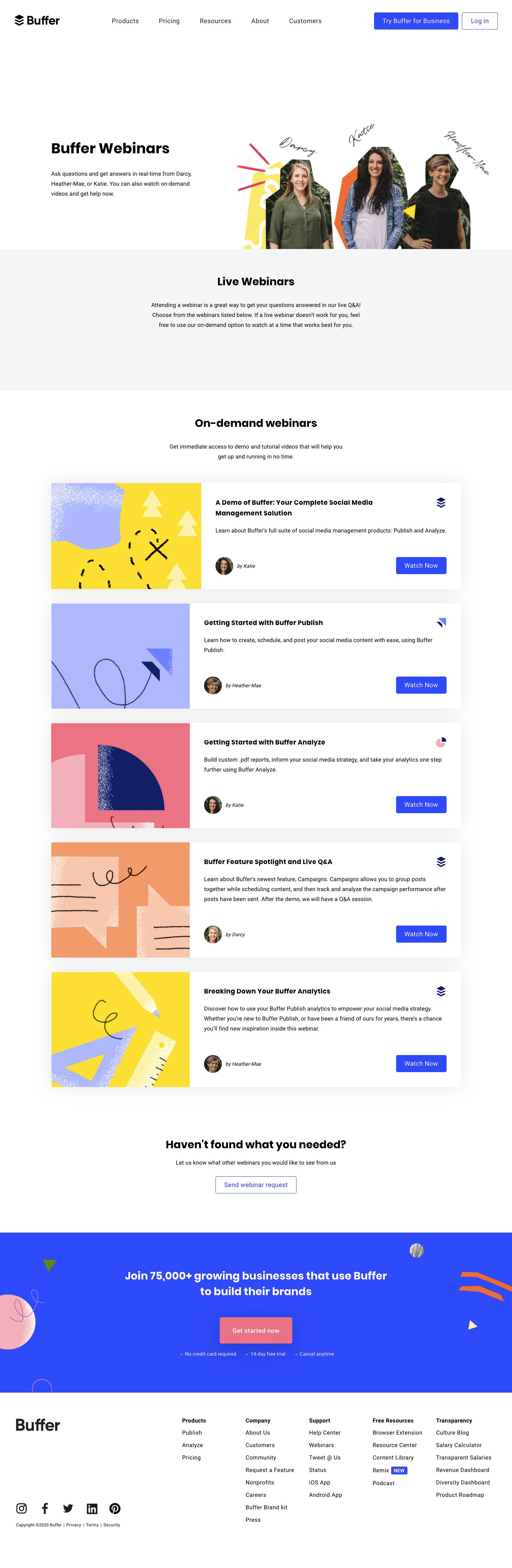 Buffer Webinars Page