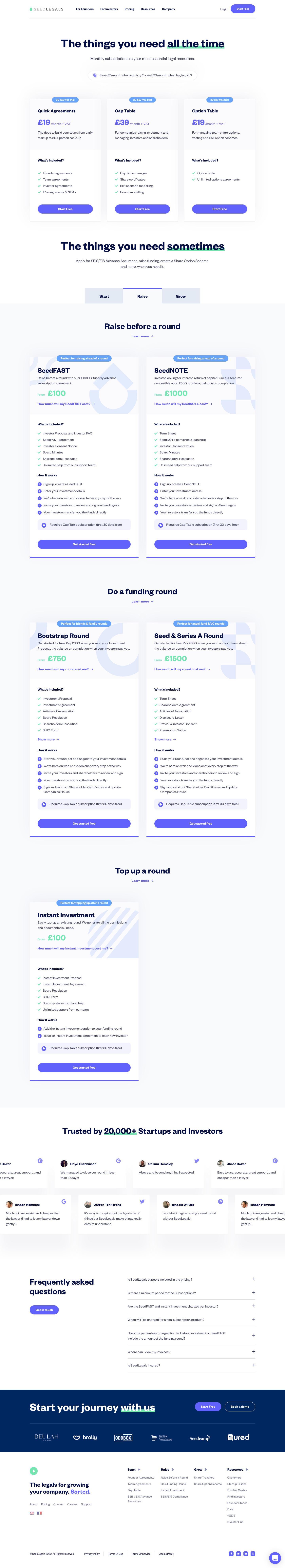 SeedLegals Pricing Page