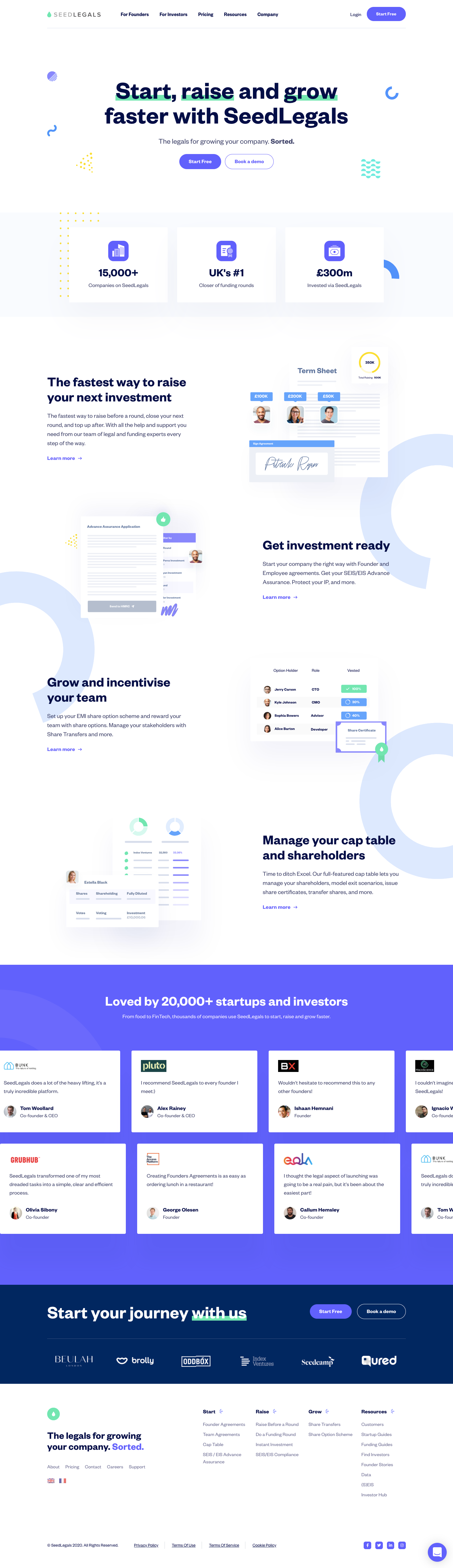 SeedLegals Landing Page